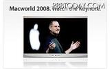 MacWorld 2008でのスティーブ・ジョブズ氏の基調講演の画像