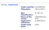 カプコン、海外で『E.X. Troopers』なるタイトルを商標登録の画像