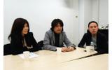左からガンバリオン山倉: 千賀子氏、レベルファイブ日野晃博氏、サイバーコネクトツー松山洋氏の画像