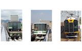 (左から)ポートライナー、六甲ライナー、阪神電車の画像