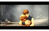 強く抱き合う兄と弟の画像