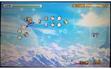 キャラクターはサーフボードのような乗り物で飛行していて、スライドパッド(十字ボタン)で上下左右に移動するの画像