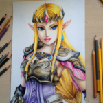 17歳の少女が描く『ゼルダ無双』のファンアート…一見デジタルだが、実は色鉛筆