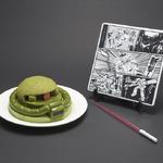 ザクの頭をケーキで再現した「量産型ザクケーキセット」予約開始、やられ皿とビーム・サーベル串の豪華セット