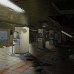 廃墟と化した地下道の画像